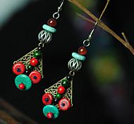 Ethnic (Umbrella) Multicolor Torquise Drop Earrings (1 Pair)