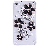3d bling schwarze Blumen Strass Kunststoff Fall für iPhone 4/4S