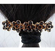 Fashion Beautiful Alloy with Crystal Black Flower Hairpins for Women