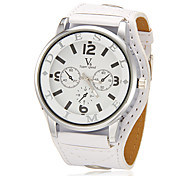 Unisex Big Round Dial Pu Band Quartz Analog Wrist Watch