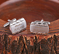 Personalized Gift Curve Silver Metal Engraved Cufflink