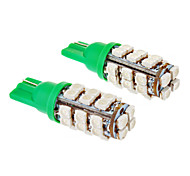 T10 1.2W 20x3528SMD Green Light Lâmpada LED para carro (12V, 2pcs)