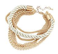 Fashion 7Cm Women'S Golden Alloy Chain & Link Bracelet(Black,White)(1 Pc)