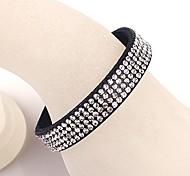 The Four Rows Diamond Black Bracelet