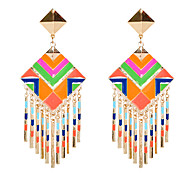 European Style Bohemia Multicolor Square Drop Earrings