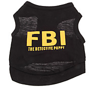 Dog Shirt / T-Shirt Black / Yellow Dog Clothes Summer Police/Military / Letter & Number Holiday / Fashion