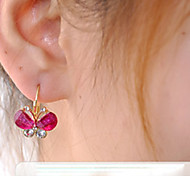 Earring Stud Earrings Jewelry Women Daily Alloy Dark Green / Red