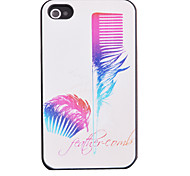 Purple Feather Pattern Relief Back Case for iPhone 4/4S