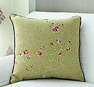 "18""Square China Flower Embroidery Polyester Decorative Pillow Cover"