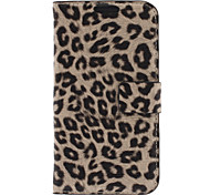 Leopard Print Pattern Faux PU Leather and Hard Back Cover Pouch for Samsung Galaxy S3 I9300