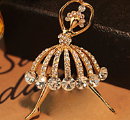 High-quality Crystal Balet Girl Brooch