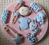 3D BOY BABY Toy Silicone Mold Fondant Molds Sugar Craft Tools Chocolate Mould  For Cakes