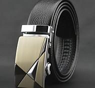 Men's Top Grade Genuine Leather Automatic Buckle Belt  Leopard