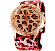 Women's Leopard Pattern Diamante Round Dial PU Band Quartz Analog Wrist Watch (Assorted Colors)