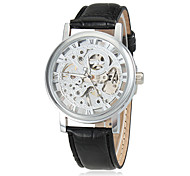 Men's Elegant Silver Dial Black Leather Band Manual Mechanical Skeleton Wrist Watch
