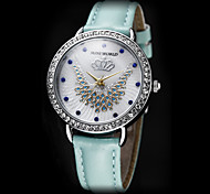 Women's Crown Necklace Pattern Diamond Case Leather Band Quartz Analog Wrist Watch (Assorted Colors)