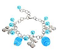 Sweet 22Cm Women'S Silver Alloy Charm Bracelet(Black,Blue,Pink)(1 Pc)