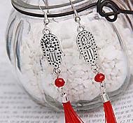 Silver Palm Red Fabric Tassel Drop Earrings(Random Color)