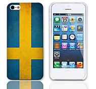 Vintage The Flag of Sweden Design Hard Case with 3-Pack Screen Protectors for iPhone 5/5S