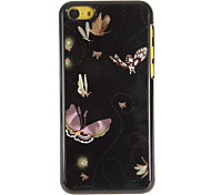 Beautiful Flying Butterflies Pattern PC Hard Case with 3 Packed HD Screen Protectors for iPhone 5C