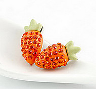 Strawberry Orange Crystal Stud Earrings