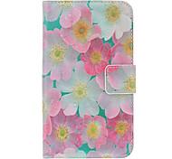 Fleurs roses peinture Motif simili-cuir avec du plastique dur de couverture arrière Pochettes pour Samsung Galaxy i9500 S4
