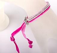Two Rows Of Rose Velvet Buckle Bracelet