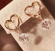 Süß (Round Drop) Gold-Legierung und Zirkon Ohrringe (1 Paar)