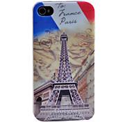 Vivid Frankreich Flagge und Eisenturm Muster Transparent Frame zurück Fall für iPhone 4/4S