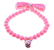 Pink Dots Bow Beaded Elastic Collar with Bell For Pets