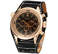 Unisex Gold Runde Sache Weit PU-Band Quarz Analog Armbanduhr (verschiedene Farben)