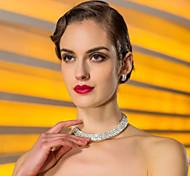 di alta qualità ceco lega strass placcato collana di nozze e gioielli orecchini set