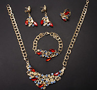 Fashion Gold Alloy (Necklace&Bracelet&Earrings&Ring) Jewelry Set(Red,Green,Purple And More)