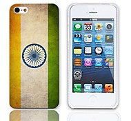 Vintage The Flag of India Pattern Hard Case with 3-Pack Screen Protectors for iPhone 5/5S