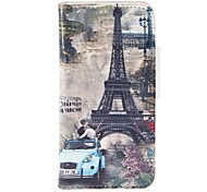 Eiffel Tower Pattern PU Full Body Case with Stand and Card Slot for iPhone 5/5S