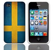 Vintage La bandera de Suecia caso duro del diseño con 3-Pack Protectores de pantalla para iPhone 4/4S