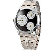 Männer Drei Zeitzonen, Silber, Stahl-Band Quarz-Analog-Armbanduhr (verschiedene Farben)