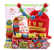 63 Grains Wooden Animals  Printed Beads for Kids