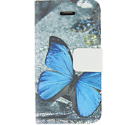 Blue butterfly Pattern PU Leather Full Body Case For iPhone 4/4S
