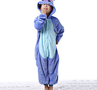 Cute Blue Stitch Flannel Kids Kigurumi Pajama