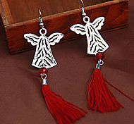 Silver Angel Red Fabric Tassel Drop Earrings(Random Color)