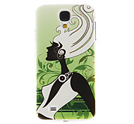 Black and White Lady Pattern Plastic Protective Hard Back Case Cover for Samsung Galaxy S4 I9500