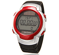 Men's Lcd Digital Round Dial Rubber Band Wrist Watch (Assorted Colors)