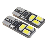 T10 1.6W 6x5730SMD 28-35LM 6000K Cool White Light LED Bulb for Car (12-16V,2 pcs)
