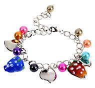 Fashion 22Cm Women'S Silver Alloy Charm Bracelet(Red,Multicolor)(1 Pc)