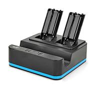 Capacidade 1800mAh da bateria do controlador Charger 3 em 1 para Nintendo Wii U