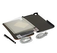 Las bolsas de tela Marks PU de cuero + Stylus Pen + HD Screen Film 2 Pcs + Cable USB 2 piezas para Samsung Galaxy TAB3 T310
