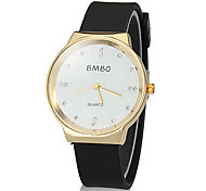 Women's Golden Round Dial Silicone Band Quartz Analog Wrist Watch (Assorted Colors)