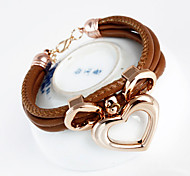 Fashion Heart Pendant Wrap Bracelet(Random Color)