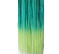 25 Inch Clip in Synthetic Green Gradient Straight Hair Extensions with 5 Clips